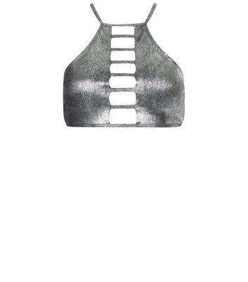 Silver High Neck Lattice Front Bikini Top New Look