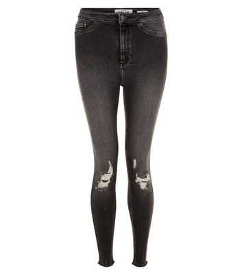 Black Ripped Knee Skinny Hallie Jeans New Look