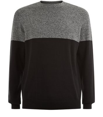 Black Colour Block Crew Neck Jumper New Look