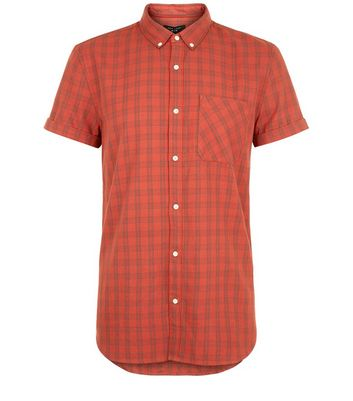 Red Check Short Sleeve Shirt New Look