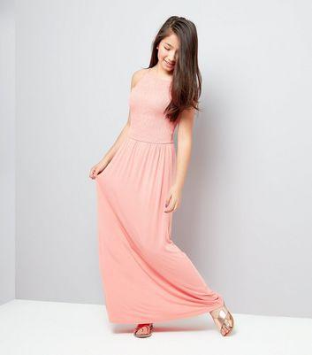 Teens Orange Sleeveless Shirred Waist Maxi Dress New Look
