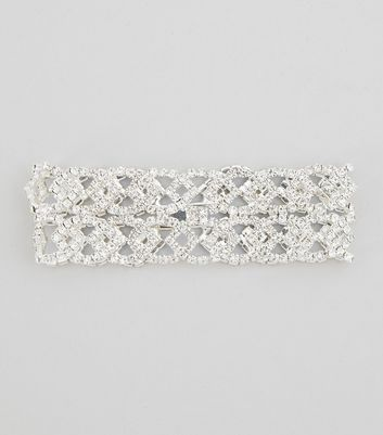 Silver Wide Diamanate Bracelet New Look