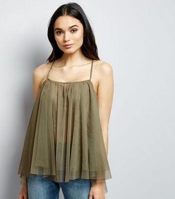 Noisy May Khaki Mesh Cami Top New Look