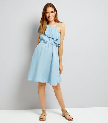 Noisy May Pale Blue One Shoulder Frill Trim Dress New Look