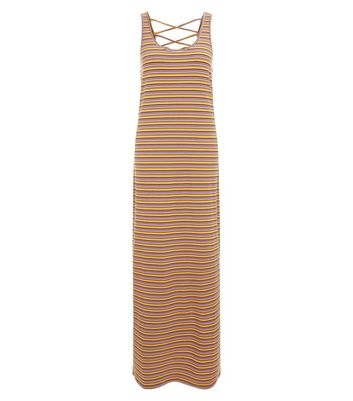 Noisy May Orange Stripe Lattice Back Maxi Dress New Look