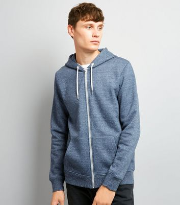 Blue Nep Marl Zip Front Hoodie New Look
