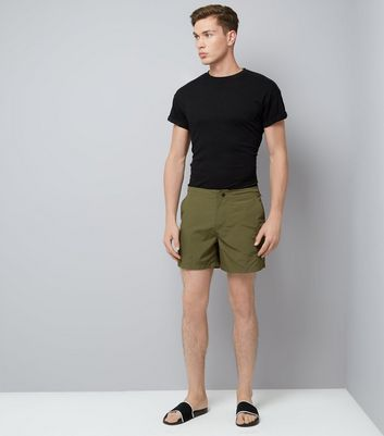 Khaki Utility Swim Shorts New Look