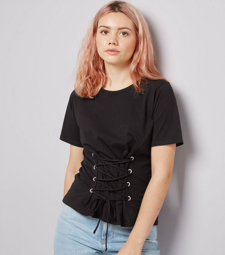 875ee16b33 Black Lace Up Corset T-Shirt