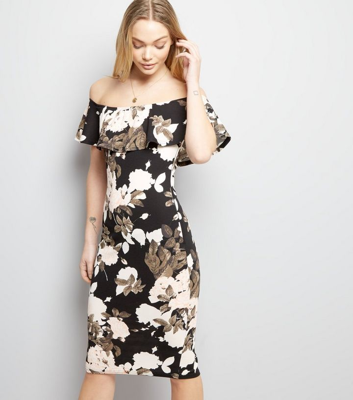 890dafde20d4 AX Paris Black Floral Print Bardot Neck Bodycon Dress | New Look