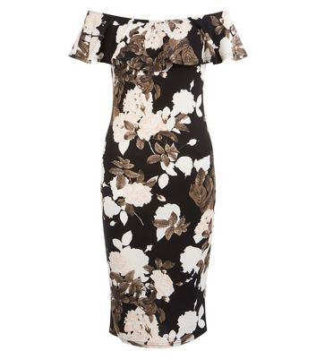 AX Paris Black Floral Print Bardot Neck Bodycon Dress New Look