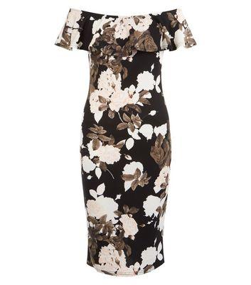 AX Paris Black Floral Print Bardot Neck Bodycon Dress New Look