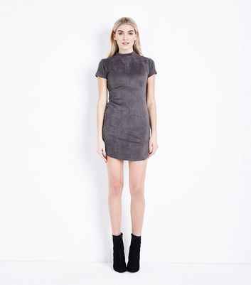 AX Paris Dark Grey Suedette Funnel Neck Dress New Look