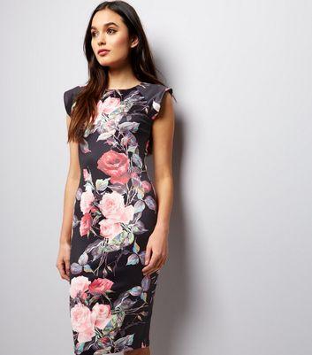 AX Paris Black Floral Print Bodycon Dress New Look