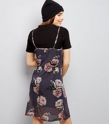Grey 2 In 1 T-Shirt And Floral Mesh Slip Dress New Look
