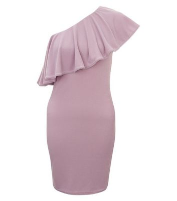 Lilac Ribbed Frill Trim Off The Shoulder Bodycon Dress New Look