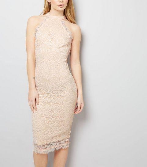 cdefd544dfb ... AX Paris Pale Pink Lace High Neck Dress ...