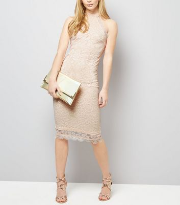 AX Paris Shell Pink Lace High Neck Dress New Look