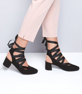 Black Suedette Ankle Tie Mini Block Heels New Look