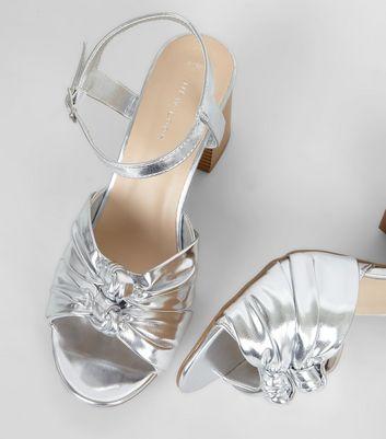 Silver Knot Front Contrast Block Heels New Look