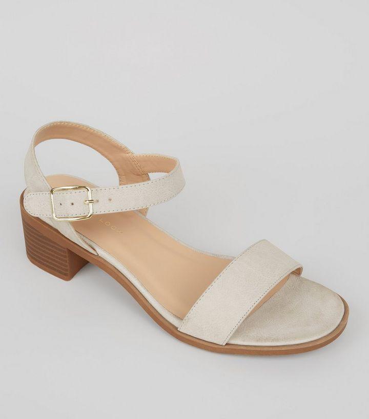 5553109149b5 Wide Fit Grey Low Block Heel Sandals