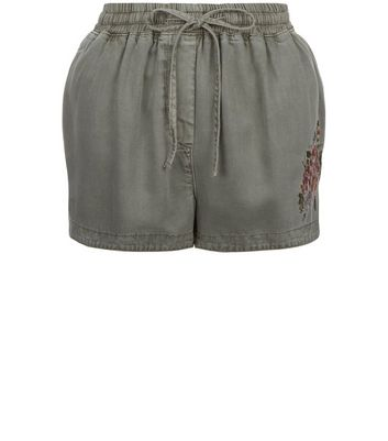 Olive Green Floral Embroidered Running Shorts New Look