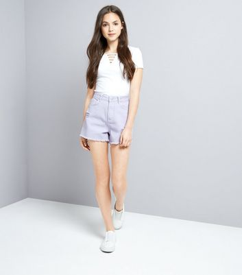 Teens Lilac Ripped Denim Shorts New Look