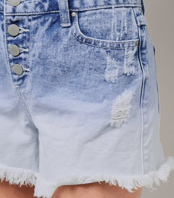 Teens Pale Blue Ombre Denim Shorts New Look