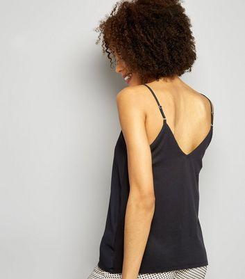 Black Lattice Front Woven Cami Top New Look
