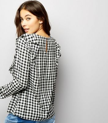 Black Gingham Check Frill Trim Top New Look