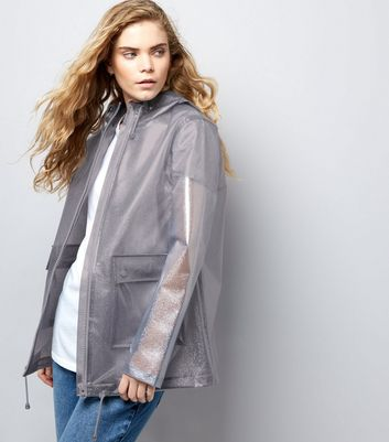 Grey Glitter Hooded Anorak New Look