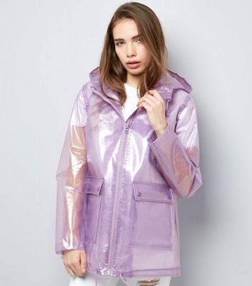 Lilac Glitter Hooded Anorak New Look