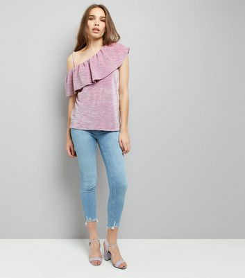 Lilac Velvet Off the Shoulder Top New Look