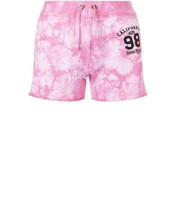 Teens Pink Tie Dye California 98 Print Shorts New Look