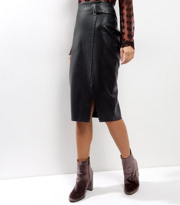 20196184663a0e Black Leather-Look Midi Pencil Skirt | New Look