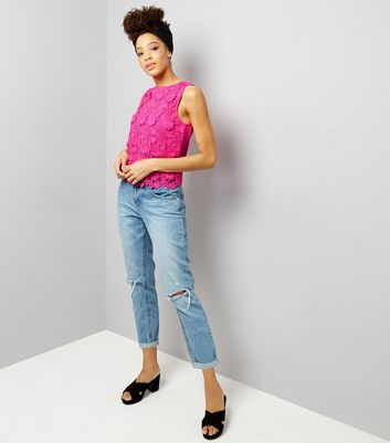 Bright Pink Lace Sleeveless Top New Look