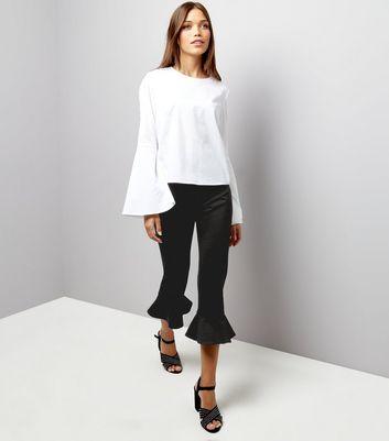 Petite Black Frill Hem Cropped Trousers New Look