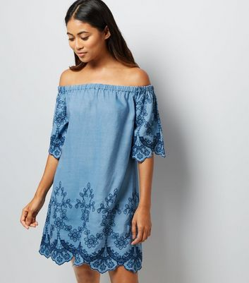 Petite Blue Embroidered Bardot Neck Dress New Look