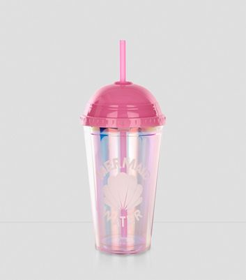 Coral Iridescent Mermaid Water Cup and Straw New Look