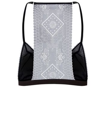 Black Aztec Embroidered Bralet New Look