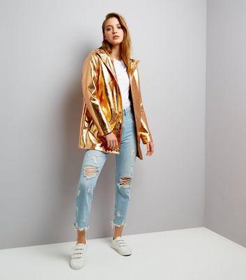 Bronze Metallic Hooded Anorak New Look