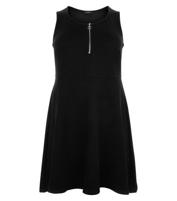 Curves Black Zip Front Textured Skater Dress New Look