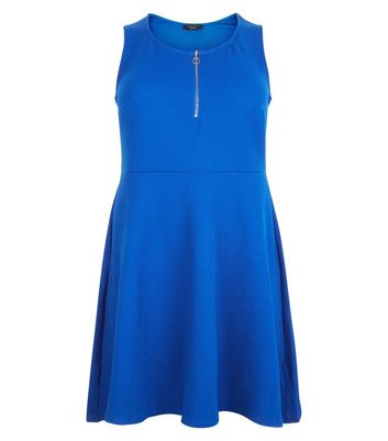 Curves Blue Zip Front Textured Skater Dress New Look