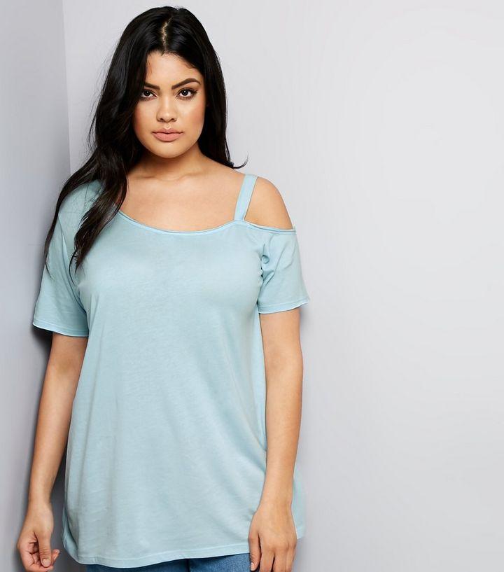 9a40e1ecbf12 Curves Mint Green Asymmetric Cold Shoulder T-Shirt | New Look