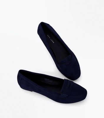 Wide Fit Navy Suedette Penny Loafers New Look
