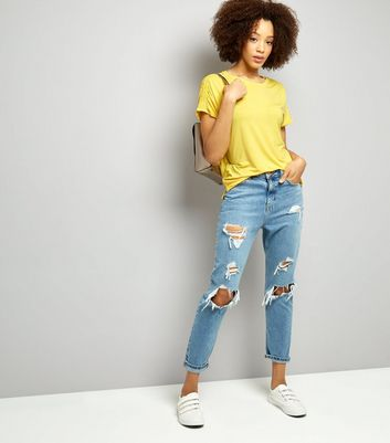 Yellow Ruched Shoulder T-Shirt New Look