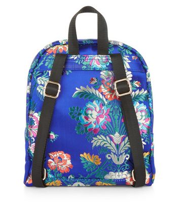 Bright Blue Sateen Floral Jaquard Mini Backpack New Look