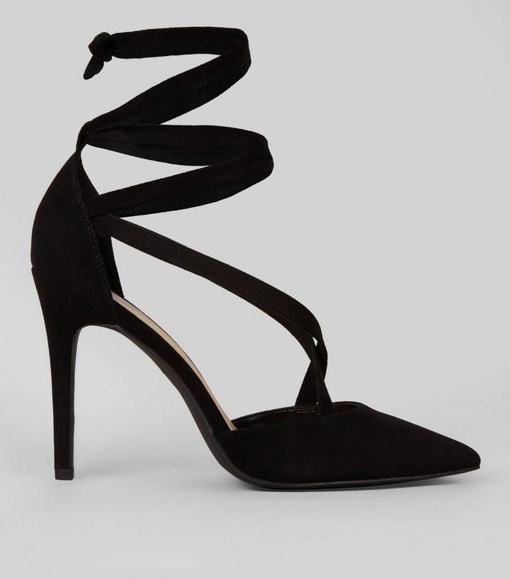 c08d1fa65c15 Black Suedette Strappy Pointed Heels