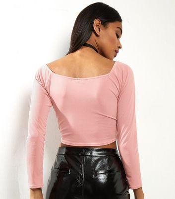 Motel Pink Long Sleeve Crop Top New Look