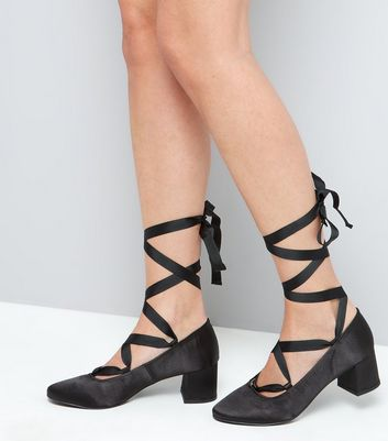 Black Satin Ankle Tie Block Heels New Look