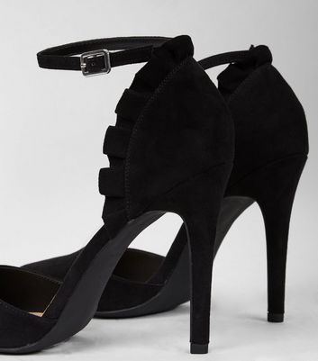 Black Suedette Frill Trim Pointed Heels New Look